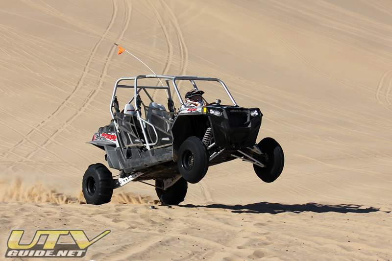 Polaris RZR XP 4 flying out of Oldsmobile Hill